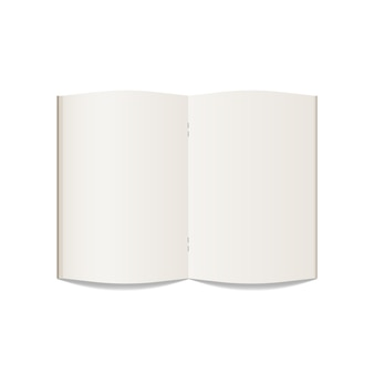Caderno aberto em branco. maquete de caderno realista isolar no fundo branco. modelo. ilustração.