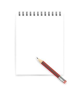 Caderno branco aberto em branco com ilustração vetorial de lápis