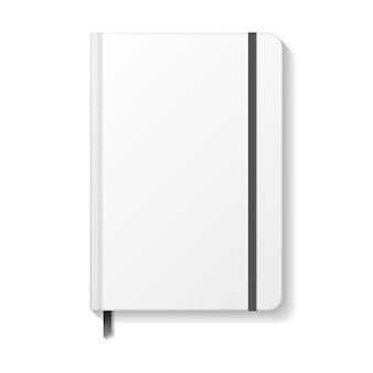Caderno branco em branco com modelo de maquete de marcador de fita e elástico preto.