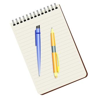 Caderno, caneta azul e caneta amarela em um fundo branco