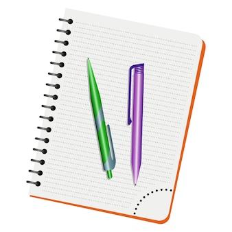 Caderno, caneta verde e caneta roxa em um fundo branco