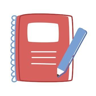 Caderno com ícones de suprimentos de lápis