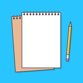 Caderno com ilustração de ícone de lápis