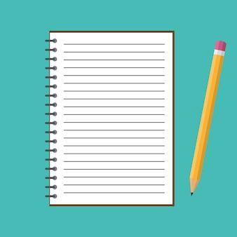 Caderno com lápis. ilustração