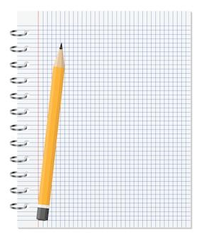 Caderno com lápis