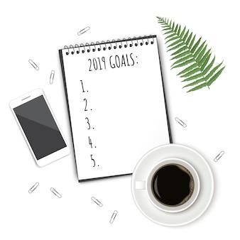Caderno com lista de desejos na mesa rústica branca