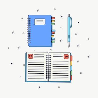 Caderno com marcador e caneta. papel do bloco de notas. lembrete, nota.