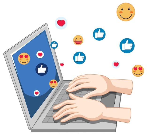 Caderno com tema de ícone de mídia social e mãos isoladas no fundo branco