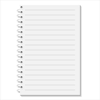 Caderno com uma espiral em um fundo branco