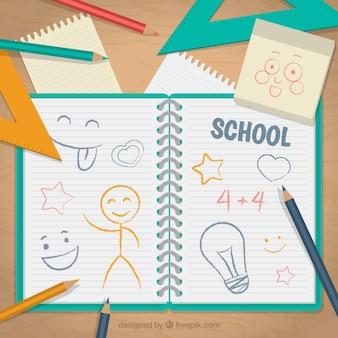 Caderno da escola com desenhos
