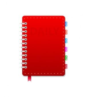 Caderno de couro isolado. ilustração vetorial