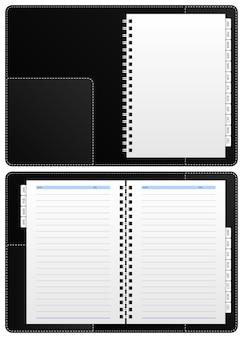 Caderno de diário, pasta de papel. um caderno de diário em branco com pasta de papelão que tem partição de janeiro a dezembro.