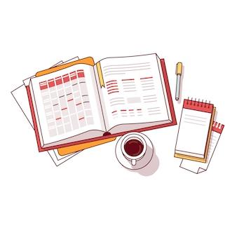 Caderno de horário do dia da manhã do empresário