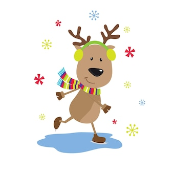Caderno de natal com design de renas de esqui fofas