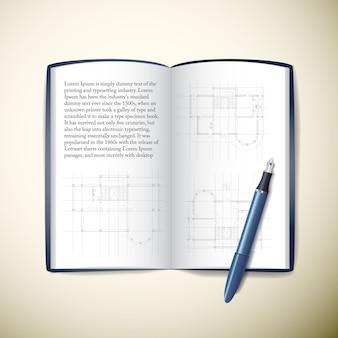 Caderno de papel do arquiteto aberto com esboços de texto e caneta