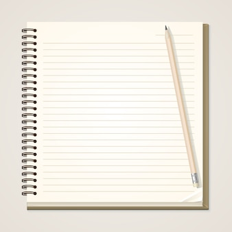 Caderno de papel e lápis