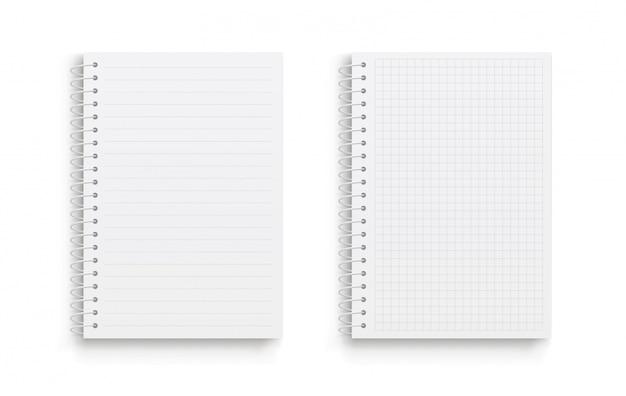 Caderno de vetor realista. quadrado e forrado.