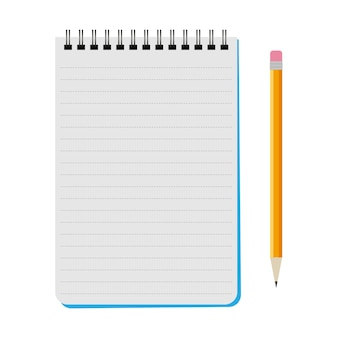 Caderno de vetores com um lápis amarelo em um fundo branco