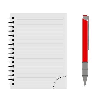 Caderno de vetores com uma caneta vermelha em um fundo branco