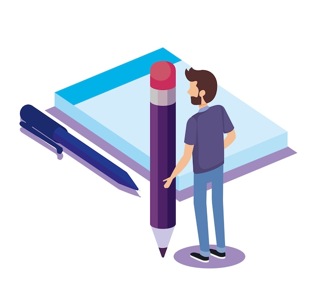 Caderno e caneta com homem isométrico