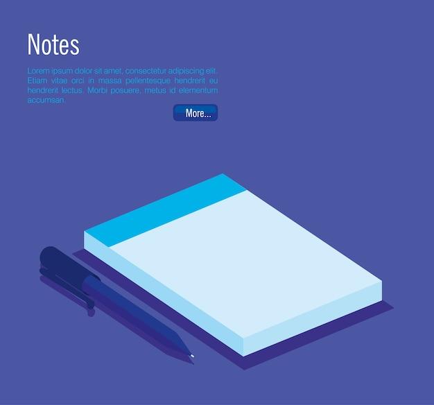 Caderno e caneta isométrica ícones vector design ilustração