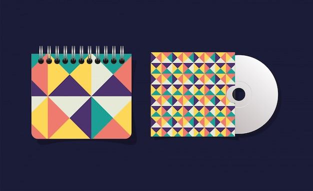 Caderno e cd de capa geométrica