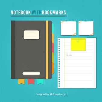 Caderno e folhas vintage