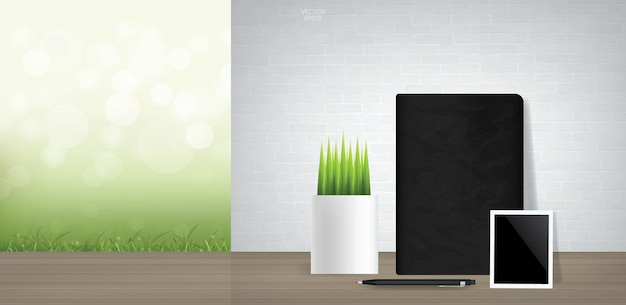 Caderno e moldura em branco com planta de decoração em fundo de espaço de quarto vintage com área verde natural. ilustração vetorial.