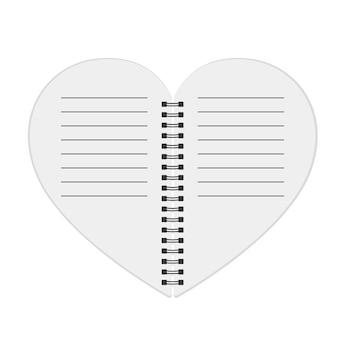 Caderno em forma de coração. ilustração.
