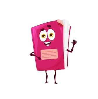 Caderno engraçado de desenho animado, personagem mascote do vetor