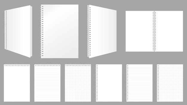 Caderno espiral em branco cobre folhas e páginas com linhas e cheques conjunto de maquete de ilustração vetorial