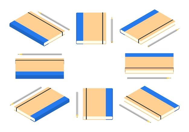 Caderno fechado isométrico com lápis