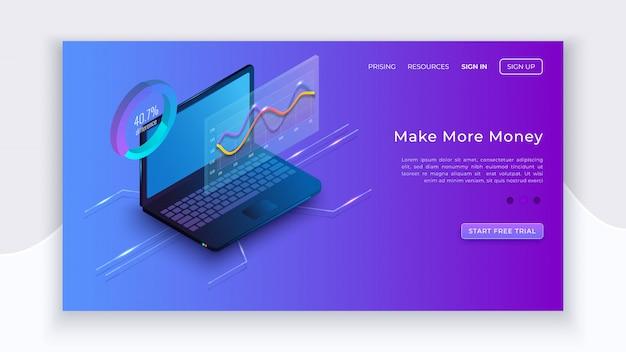 Caderno isométrico e diagramas. negócio digital. conceito isométrico de aplicativo de negócios. laptop com diagramas de estatísticas. página de destino da tecnologia