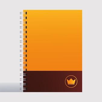 Caderno, modelo de identidade corporativa em ilustração de fundo branco