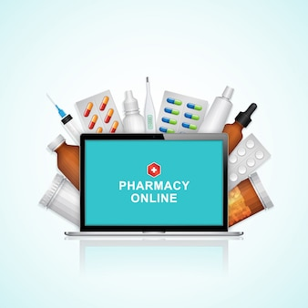 Caderno on-line de saúde e médico com conjunto de garrafas