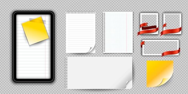 Caderno ou bloco de notas realístico com a pasta isolada. bloco de notas de memorando ou diário com modelos de página de papel alinhado e quadrado.