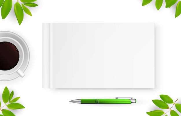 Caderno realista com branco em branco