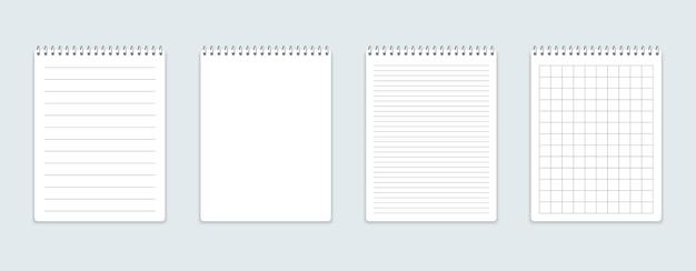 Caderno realista com folhas quadradas e lineares.