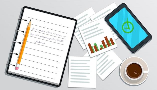 Caderno realista com texto, smartphone com a marca de seleção na tela, lápis, xícara de café, gráfico isolado no branco