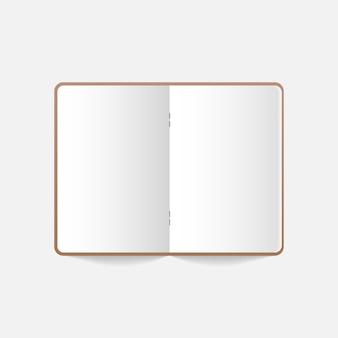 Caderno realista, diário ou livro. caderno realista aberto em branco.