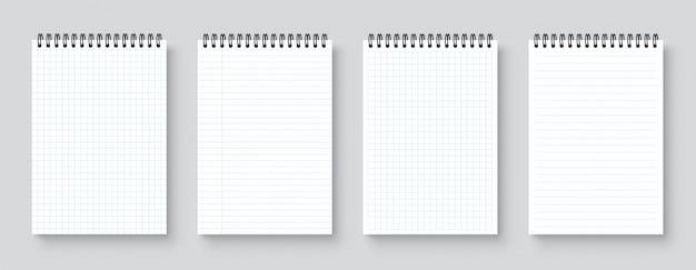 Caderno realista em branco, organizador e diário com modelo de página de papel quadriculado e forrado