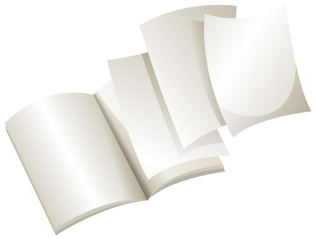 Caderno vazio aberto com fundo branco
