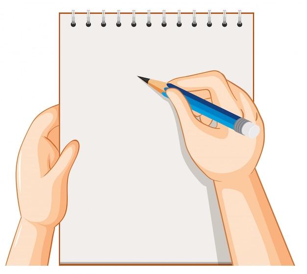Caderno vazio e mão com lápis sobre fundo branco