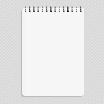 Caderno vertical - maquete bloco limpo isolado no fundo transparente
