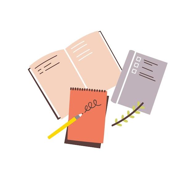 Cadernos, blocos de notas, blocos de notas, planejadores, organizadores para fazer anotações e rabiscar isolados na superfície branca