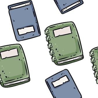 Cadernos de desenhos animados bonitos doodles padrão de borda sem emenda. telha de textura de fundo repetível de vetor. modelo de artesanato aconchegante de ilustração de estoque para design de embalagem, papel de parede