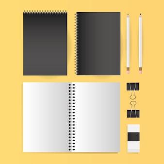 Cadernos de maquete, lápis e design de clipes de modelo de identidade corporativa e tema de marca