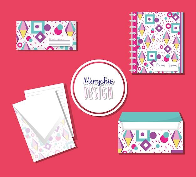 Cadernos de memphis e envelopes mock-se sobre fundo rosa