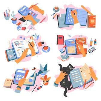 Cadernos e suprimentos para escrever e anotar informações. livro-texto ou caderno, planejador ou organizador. mão com lápis e marcador, brincando com o gatinho enquanto trabalhava. vetor em estilo simples