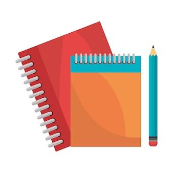 Cadernos lápis isolado